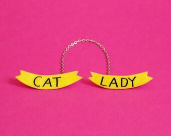 Cat Lady Sweater Brooch Set w/ Chain