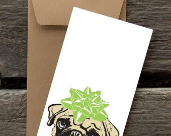 Pug with Bow-- 8 Blank flat cards and envelopes