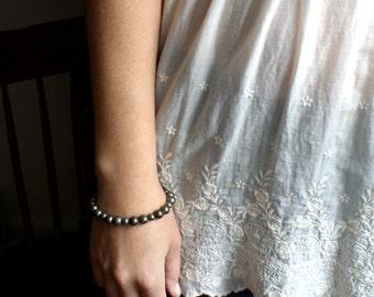 Pyrite Bracelet . Natural Gemstone Bracelet . Silver Beaded Bracelet . Gem Stone Bracelet . Heavy Metal Jewelry - Halley Collection