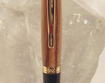 Handmade Gold Zebrawood Sierra Style Pen