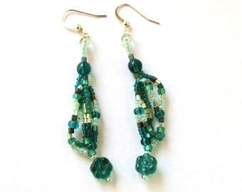Green Freeform Earrings - Green Beaded Earrings - Green Dangle Earrings