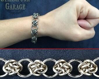 Bracelet - Steel Cloud Cover Circles - Celtic Knots - Chainmaille