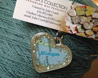Michigan Map Pendant with Sprinkles of Silver German Glitter