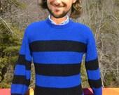 vintage 70s sweater RUGBY stripe shaker knit ski royal blue black preppy Medium Small soft