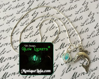 Glowing Dolphin Necklace Glow Locket with Free UV Light Charger