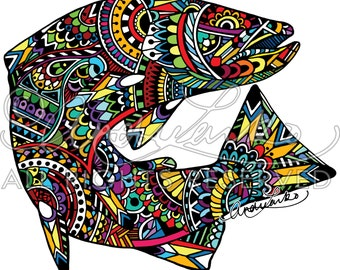 Brown Trout Zentangle Laminated 3M Decal