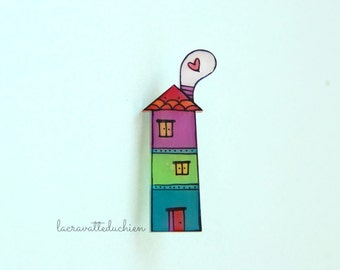 House acrylic brooch, house jewelry, illustrated jewelry