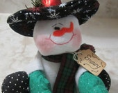 Snowman Soft Scuplture Shelf Sitter - Handmade Christmas Decoration Ornament Shelf Sitter - Stuffed Snowman Decoration - One of a Kind