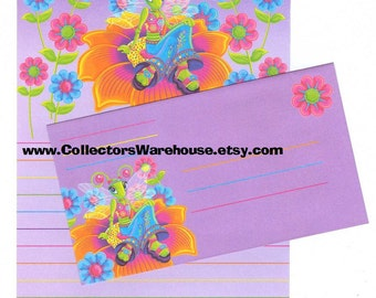 Lisa Frank Diva Dragonfly Die Cut Stationery Sheet w/ envelope