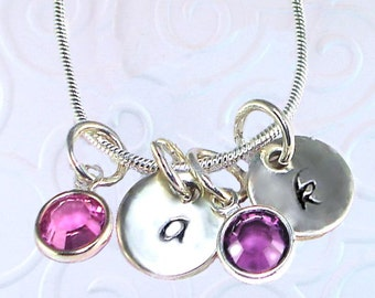 Personalized Hand Stamped Jewelry Charm Necklace Sterling Silver Inital Charm Swarovski Birthstone Mothers Necklace Grandmother Mommy Mom