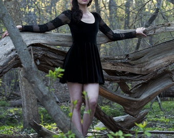 Black Velvet and Lace Dress-Made to order