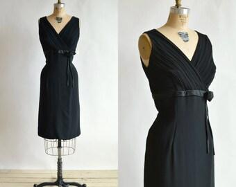 Vintage Black Cocktail Dress --- 1960s Wiggle Dress