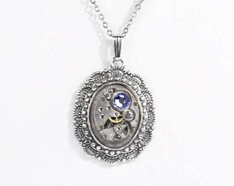 Steampunk Ornate Victorian Frame Silver Necklace with Vintage Watch and Sparkling Purple Tanzanite Swarovski Crystal by Velvet Mechanism