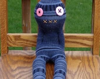Creepy Weird Strange Sock Monster Doll , handmade sock doll named Kenny