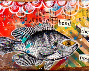 ACEO Original Mixed Media Collage Art Card Bend the Bow