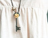 Skeleton Key Necklace  Long Key Necklace,  Rose and Sparrow Necklace, Steampunk Jewelry
