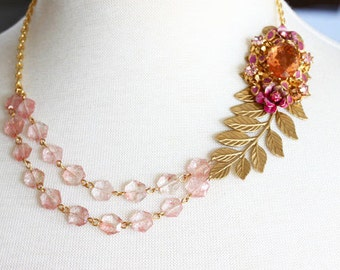 Rose Gemstone Necklace Pink Beaded Necklace Statement Necklace Pink Gemstone Necklace Gold Leaf Necklace Vintage Jewelry OOAK