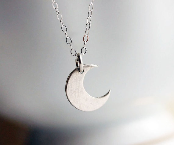 Sterling Crescent Moon Necklace, Sterling Silver Small Charm Necklace, Simple Everyday Jewelry - Fine Sterling Silver Chain