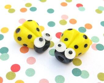SALE - 2 Glass Ladybug Beads - 14mm Beads - Yellow Ladybugs - Glass Ladybugs - Handmade Lampwork - DIY Jewelry - SRA Lampwork Beads - S