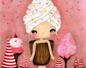 Cupcake Print Candy Ice Cream Pink Cake Girl  Wall Art ---One Sweet Day