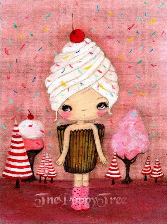 Cupcake print candy ice cream pink cake girl wall art one for Cupcake wall art