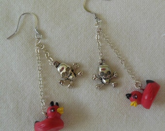 Devil Duck Earrings - with Skull, Star or Spider