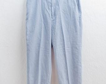 Men's Linen Slacks / Vintage Baby Blue Dress Pants / Flat Front / size 35x30