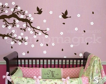 Blowing Branch Wall Decal - Flower Branch Vinyl Wall Decal Decor Graphics - Windy Tree Branch Wall Decal for Nursery - K189S