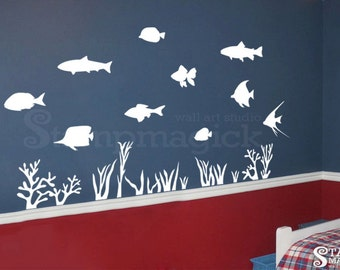 Fish Wall Decal - Under Water Wall Decal - Ocean Sea Scene Theme Wall Decal - Aquarium Vinyl Wall Art Graphics - K228