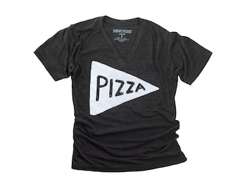 Vneck Pizza Tshirt, Unisex funny t shirt, gift for teen, back to school shirt gift for her dad graphic tee, urban mens t-shirt, vneck tshirt
