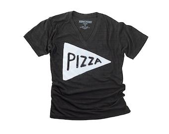 Vneck Pizza Tshirt - funny t shirt - back to school - mens tshirt - gift for dad graphic tee - urban mens t-shirt - v neck tshirt