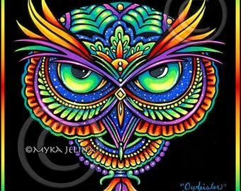 Psychedelic Rainbow Owl Trippy Hippie Owleister 8x10 Signed PRINT