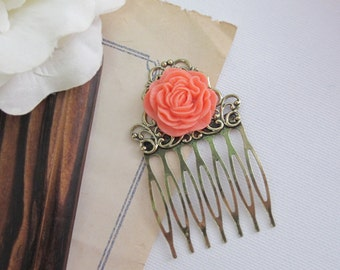 Romantic Ruffled Flower Floral Hair Comb. Large Salmon Peach Pink Flower Antiqued Brass Hair Comb. Floral Collage Chic Hair Comb