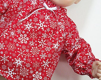 Bitty or Twin Doll Clothes - Red with Snowflakes Mini Dress and Panties