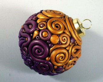 Ornament Purple and Gold Filigree Ceramic and Polymer Clay