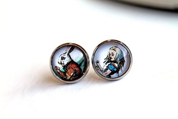 Alice in Wonderland and white rabbit stud post earrings sweet lolita feminine