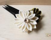 Sweet Cream Formal Kanzashi Hair Flower Pin Stick