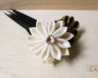 Sweet Cream Formal Kanzashi Hair Flower Pin Stick