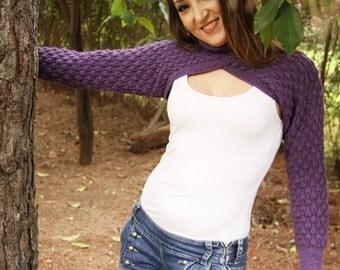 knitted shrug, bobbles pattern, purple, turtleneck,winter,spring,awtumn,bolero knit,knit shrug,hand knit