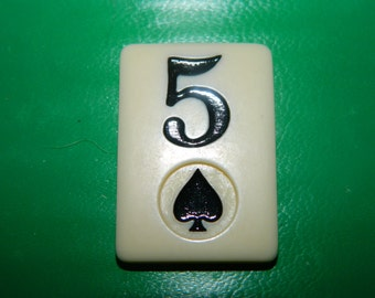 Vintage Rummy Game Piece 5 of Spades, Heart, Game Chip, Resin, Jewelry Supplies, Craft, Mixed Media, Number 5, Five, SPADE