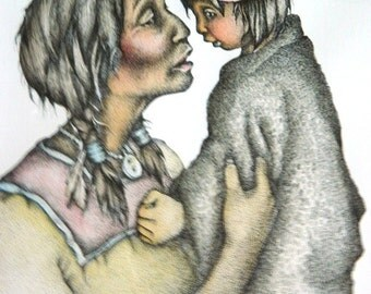 """Limited Edition Signed Print """"Pueblo Mother and Child"""" by Nancy Shumaker Pallen Graphic Artist 10/800, Matted Print"""