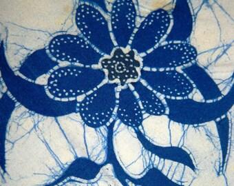 1970's Indonesian Batik Napkin, Hobo, Bohemian, Blue Flower, Floral Pattern, was resistant dying, Copper Stamp, Java Batik, Javanese
