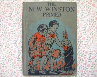New Winston Primer 1928 School Reader Bunny Rabbit Cover