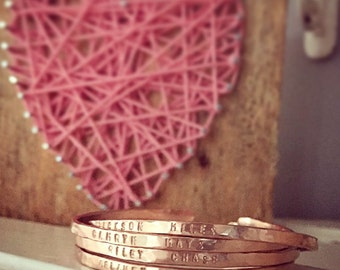 Personalized whisper cuff bangles - Rose gold filled, gold filled and sterling silver