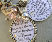 MOTHER of the BRIDE gift PERSONALIZED keychain love between mother and daughter, mother of the groom, rehearsal dinner gift, thank you gift