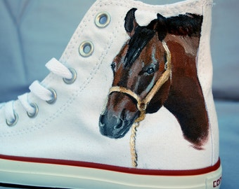 Horse Hand Painted Converse Shoes