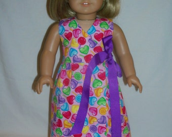 American Girl Pink/Hearts Maxi Dress for 18 Inch Dolls