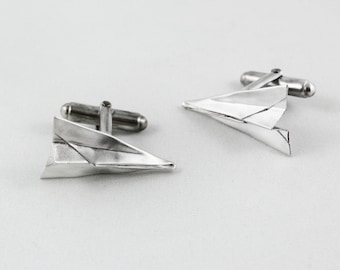 Hand-Folded Silver Paper Airplane Cufflinks, Paper Anniversary Gift for Him, Silver Cufflinks, First Anniversary Gift, Cufflinks, For Him