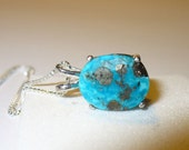 Pendant Genuine Turquoise with Pyrite Crystal Inclusion in Sterling