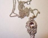 Natural Morganite in Unique Solid Silver Pendant Necklace